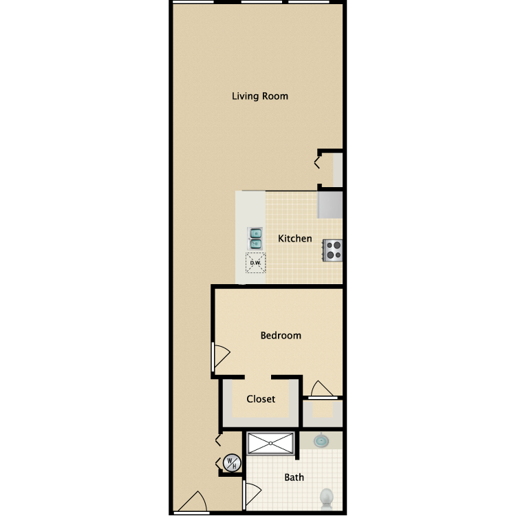 Exchange @ 104 1BR floorplan