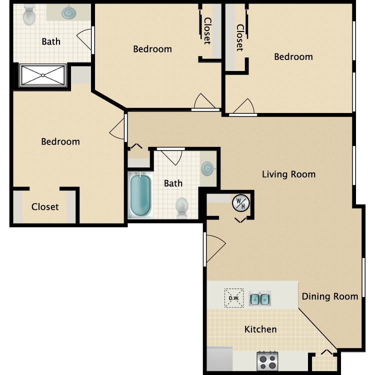 Exchange @ 104 3BR floorplan
