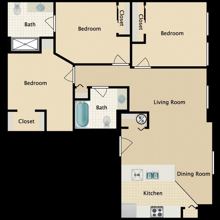 Exchange @ 104 3BR floorplan